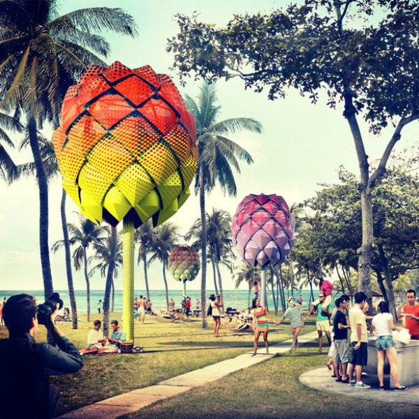 Дизайн,концепт,идея,архитектура,природа,море,океан,путешествия,отдых,туризм, Spark Beach Huts: в Сингапуре появятся пляжные домики, построенные из мусора